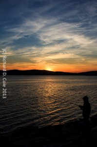 Sunset Over Immigrant Fisherman on the Hudson by Richard D. Cole